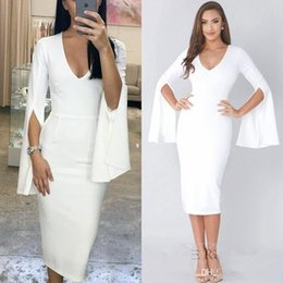 Barato Moda Pouco Vestido Branco-Cute Little White Dresses 2017 Modest Fashion Knee-length Bodycon Cocktail Prom Vestidos V-neck Long Sleeve Occasion Party Dress