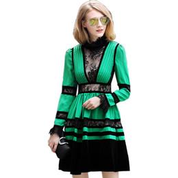 0cf9719f39c1 Vestito da rappezzatura del merletto del collare del basamento di ALTA  QUALITÀ delle donne di stile di inverno di autunno Vestito da abito dell  abito di ...