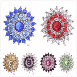 Chinese  Noosa Alloy Crystal Snap Buttons Jewelry Charms Rhinestone Sun Flower 18mm Ginger Snap Button Fit Snaps Bracelets necklace earrings rings manufacturers