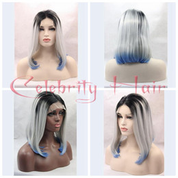 Silver Grey Synthetic Short Canada - Short BOB Cosplay wigs 3 Tones Silver grey Synthetic Lace Front Wig Black Gray white Blue Ombre Straight wig Heat Resistant Hair