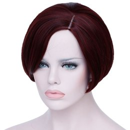 Chinese  Short Wine Red Wigs For Black Women Heat Resistant Synthetic Hair Wigs For African Americans Natural Fake Hair manufacturers