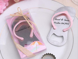 99a47009debd0b Personalized wedding favors and party gifts the Top Flip-Flop Bottle Opener ---Groom and Bride name engraved on it
