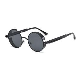 Discount steampunk round designer sunglasses - Hot Selling Round Metal Steampunk Sunglasses Men Women Fashion Glasses Brand Designer Unisex Retro Vintage Round Sunglas