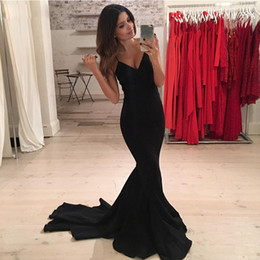 plus size sexy satin dresses 2019 - Cheap Black Mermaid Evening Dresses Sexy Backless Spaghetti Straps Stunning V Neck Long Train Party Prom Gowns Plus Size