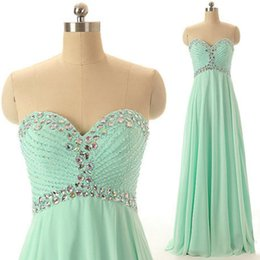 Barato Vestidos De Menta Vintage-Cheap Charming Mint Green Prom Dresses Sweetheart sem mangas de cristais Beading Chiffon Long Vestido de festa formal Evening Gowns