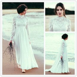 Wholesale Elegant High Neck Empire Beach Wedding Dresses Long Sleeve Lace Chiffon Floor Length Bridal Gowns Custom Size