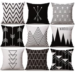$enCountryForm.capitalKeyWord Canada - Geometric Triangles Stripe Plaids Art Cushion Covers Nordic Modern Arrows Mountains Cushion Cover Decorative Sofa Linen Cotton Pillow Case