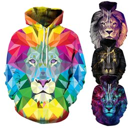 Barato Camisolas Impressas Para Homens Leão-Homens Moda 3D Printed Hoodies Sweatshirts Homens / Mulheres Pullovers Casual Lion Animal Hoodie Hooded Tracksuits Outono Thin Tops