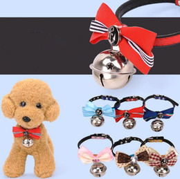 Discount knit dog collar - 2083# Wholesale Dog Supplies Cat Collar Dog Collar Puppy Kitten Small Pet More Colors With Knit Bowknot Adjustable