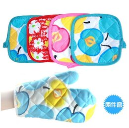 Oven Gloves Set Canada - cute printed microwave oven mitts mat gloves set pot pad heat proof kitchen oven gloves for bakeware free shipping random color