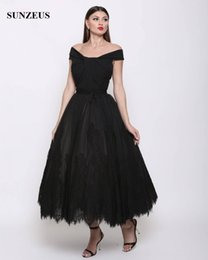 off white ankle length lace dress Canada - A-line Off Shoulder Evening Gowns Ankle Length Black Tulle Formal Party Dress With Lace Elegant Arabic Designs prom ball gowns