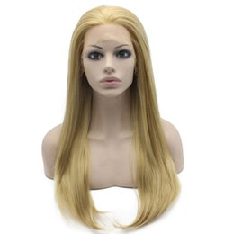 """$enCountryForm.capitalKeyWord Canada - 24"""" Long Mix Blonde Silky Straight Half Hand Tied Heat Resistant Synthetic Fiber Lace Front Fashion Wig S02"""