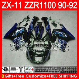 China 8Gifts 23Colors For KAWASAKI NINJA ZX11 ZX11R 90 91 92 ZZR 1100 21HM21 blue flames ZX 11 11R ZZR1100 ZX-11R ZX-11 1990 1991 1992 Fairing Kit cheap yellow kawasaki ninja fairing suppliers