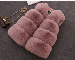 kids girl Winter Warm Waistcoat girl fur vest Coat Winter kids outwear baby kids girl jacket vest 5 color size 70-160cm on Sale