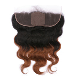 silk base frontals UK - Dark Root 1B 30 Medium Auburn Ombre Virgin Human Hair Silk Base 13x4 Lace Frontal Closure Body Wave Silk Top Full Lace Frontals