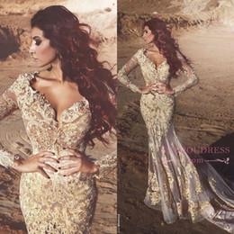 art naturals 2019 - 2019 Arabic Mermaid Long Sleeves Lace Prom Dresses Deep V neck Beads Appliqued Dubai Evening Gowns Vestidos De Fiesta BA