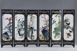 Venta al por mayor de Arte clásico chino laca trabajo a mano pintura pájaro auspicioso pantalla decoración