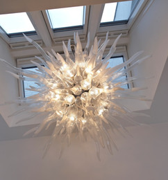 Kitchen Materials NZ - White Color and Glass Material Saving Chandelier Led Excellent 100% Mouth Blown Borosilicate Murano Glass Modern Glass Pendant Light