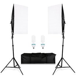 portable softbox lighting kit Canada - Photography Lighting Kit 2pcs 2m light stand +2pcs 50*70CM Wired Softbox E27 Lamp Holder + portable bags Photo Studio kits