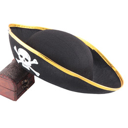 Barato Vestidos Do Caribe-Halloween Pirate Costume Accessories Jogo Pirata Captain Dress Up Performance Chapéus Caribbean Pirata Captain's Hat Cap Kids Cosplay Gifts 754