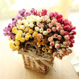 orange white roses bouquet NZ - Wholesale-Colorful Silk Flowers artificial flower 15 heads Mini Rose Home Decor for wedding small roses bouquet decoration