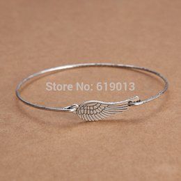 handmade personalized silver jewelry Canada - Wholesale- 2015 New Fashion Jewelry Antique Silver Personalized Charm Wing Bracelets Bangles Handmade Jewelry for Women