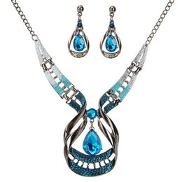 $enCountryForm.capitalKeyWord Canada - Bohemia Exotic Fashion Accessories Jewelry Sets Retro Vintage Brand Rhinestone Charm Chokers Necklaces Water Drop Dangle Earrings For Women