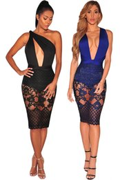 $enCountryForm.capitalKeyWord Canada - Hot Sale New Sexy Dresss For Women Hollow Out Summer Bodycon Bandage Lace Party Dress Knee Length Night Clubwear
