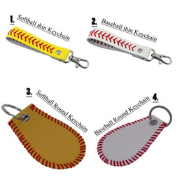 Woman Keychain Leather Canada - Softball Baseball Seamed Leather Stiches Keychain for Women Bag Accessories New