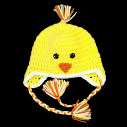 crochet hats children winter animal Canada - Super Cute Yellow Chick Hat,Handmade Knit Crochet Baby Boy Girl Adorable Animal Earflap Hat,Child Winter Cap,Toddler Kids Photography Prop