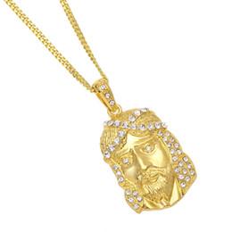 $enCountryForm.capitalKeyWord UK - Men Hip Hop Jesus Pendant Necklace Gold Color Zinc Alloy Women Necklaces Hiphop Copper Cuban Chain 3mm Christian Rapper Jewelry Ornaments