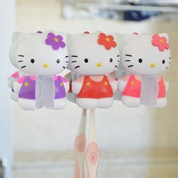 Cute Hello Kitty Cartoon Sucker Toothbrush Holder Suction Hooks Household  Items Toothbrush Rack Bathroom Set Free Shipping