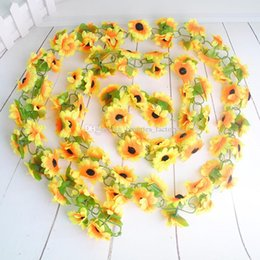 $enCountryForm.capitalKeyWord Canada - Artificial Sunflower Hanging Vine Fake Silk Foliage Flower Leaf Garland Plant Home Decoration ( 2.3M length)