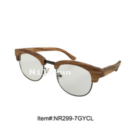 f0749f93316ff Zebra Lens Canada - Stylish oval shape zebra wood metal frame clear plain  lens optical eyeglasses