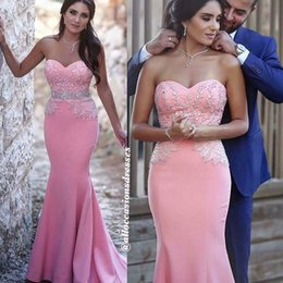 Barato Decote Cor De Rosa Querido Beading-Disse Mahamad Pink Prom Dresses Sweetheart Neckline Lace Beading Backless Mermaid Satin Floor Length Evening Dresses