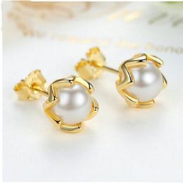 $enCountryForm.capitalKeyWord Australia - 2017 Summer New Golden Pearl Flower Stud Earrings For Women Authentic 925 Sterling Silver Flower Earrings European Fine Jewelry BF293