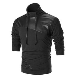 Men's Fashion 2018 Long Sleeved Sweatshirt Fashion High Collar Leather Patchwork Drawstring Pullover Tops Coat