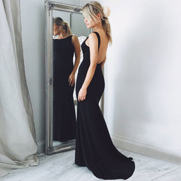 Barato Vestidos De Dança São Rápidos-Black Satin Mermaid Evening Dresses 2018 Elegant Bateau Neck Sleeveless Backless Mermaid Prom Dresses Vestidos de noite formal Fast Shipping