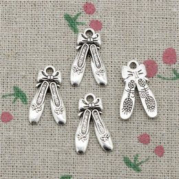 Silver Charm Ballet Australia - 103pcs Charms ballet shoes slippers 20*13mm Antique Silver pendant Zinc Alloy Jewelry DIY Craft Necklace Bracelet Accessories