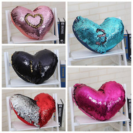 wholesale decorative cushions 2019 - Heart Pillow Cases Mermaid Sequins Pillow Case cover Home Decorative Pillowcase Sofa Cushion cover Sequin Glitter Cushio