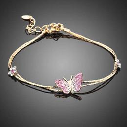 $enCountryForm.capitalKeyWord NZ - Neoglory Jewelry Swarovski Elements Gold Plated Stellux Austrian Crystal Butterfly and Flower Charm Pink Bracelet For Women