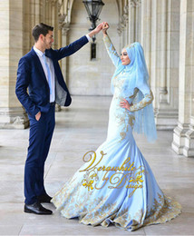 bridal satin mermaid wedding dresses Canada - 2017 Blue Satin Mermaid Muslim Wedding Dresses High Neck Long Sleeves with Beads Gold Appliques Zipper Back Sexy Bridal Gowns Custom