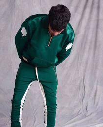 Men s juMpsuits online shopping - new s fear of god korean hip hop fashion unisex urban jumpsuit jogger side zipper track pants stripe sweatpants FOG