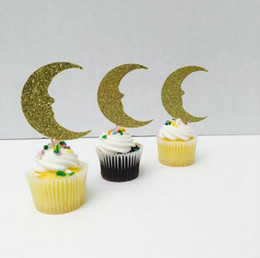 Bachelorette Party Cupcake Toppers Australia - custom 30pcs Gold glitter Moon cupcake toppers Bachelorette Hem night Party Supplies wedding birthday baby shower party Decoration Event