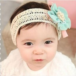 Wholesale 2017 Lovely Blue Pink Baby Headbands Hair Pieces With Lace Big Flower Hair Ornaments Daughter Children Chiffon Hair band