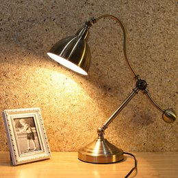 wrought iron lamp antique UK - bedside reading light antique led table lamps led desk lights bedroom study office work lamps LED eye protection decorative reading lamps