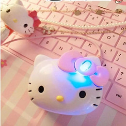 up laptops 2019 - Mini Hello Kitty USB Mouse Lights-up Mouse Cartoon Wired USB Mice Hello Kitty 1200DPI Luminous Cat Head Lovely Mouse for