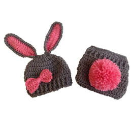 China Newborn Gray Pink Bunny Costume,Handmade Knit Crochet Baby Girl Rabbit Animal Hat and Diaper Cover Set,Toddler Infant Photo Prop suppliers