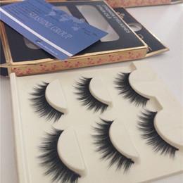 3d Hair Canada - Good Price High Quality 3D Natural Mink Bushy Cross False Fake Eye Lashes Mink Hair Handmade Eye Lashes