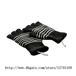 Guantes USB Invierno Laptop Half Finger USB Warm Warm Caliente Hands Gloves Plush Patchwork Striped Knit Glove en venta